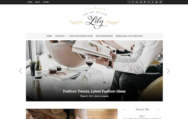 Lily Responsive Personal Blog Girly Update Fashions Outfits Life Style Blogger Template Theme