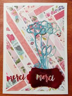défi, passion cartes creatives, carte maniak, découpes, remerciement, fleur,