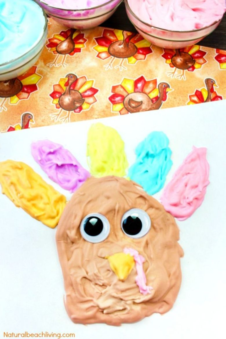 puffy paint turkey Thanksgiving craft for kids