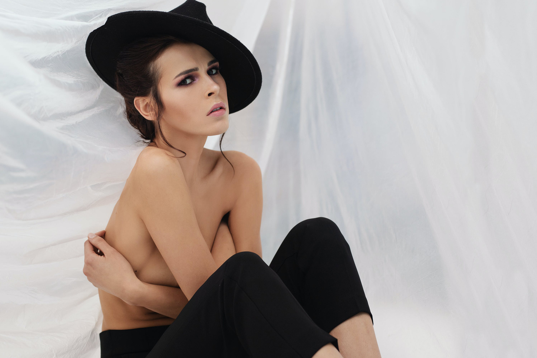 model posing on the floor