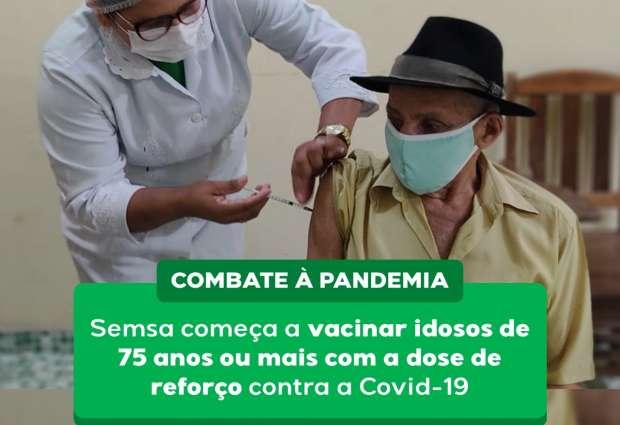 Idosos de 75 anos ou mais, recebem dose de reforço contra a Covid-19 em Mojuí dos Campos