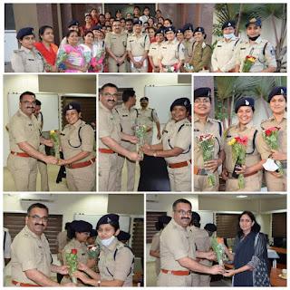 पुलिस अधीक्षक द्वारा महिला पुलिस और कर्मचारियों का स्वागत किया गया