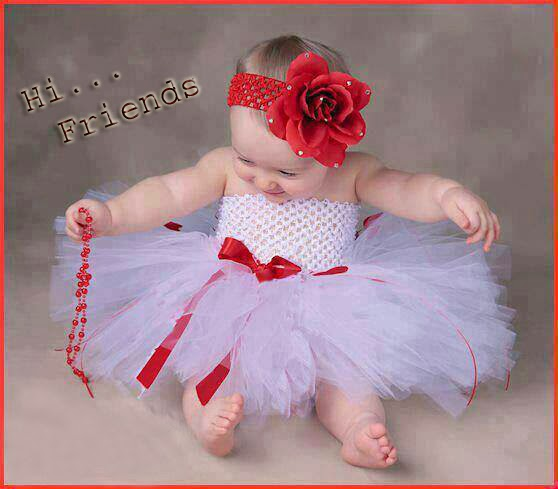 cute baby in white frock image