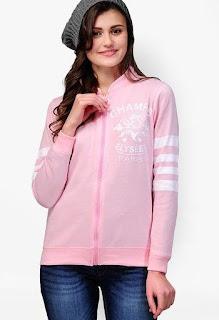 Yepme Pink Printed Sweatshirt