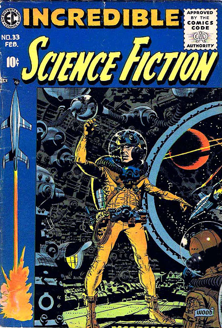 Incredible Science Fiction v1 #33 ec comic book cover art by Wally Wood