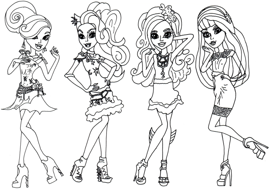 Monster High Coloring Page Black Carpet Frights Camera Action