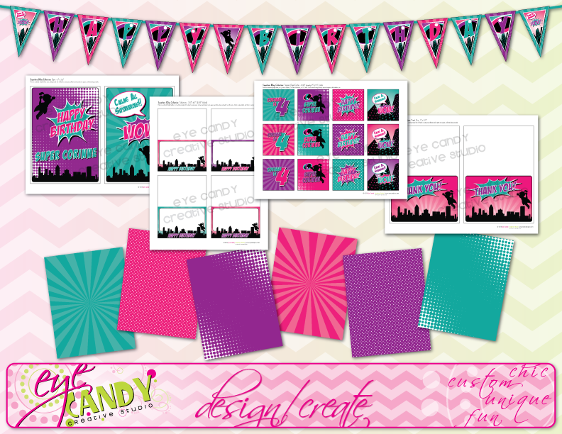 complete superhero party for girls collection, digital birthday pack