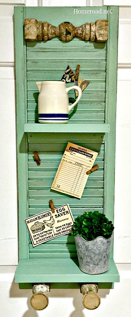 vintage green shutter shelf center