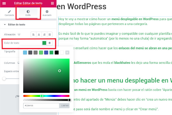 cambiar el color de letra WordPress Pugin Elementor