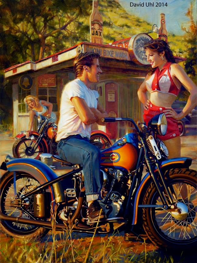 Cafe Racer Girl Wallpaper Racing Caf 232 Motorcycle Art David Uhl 4