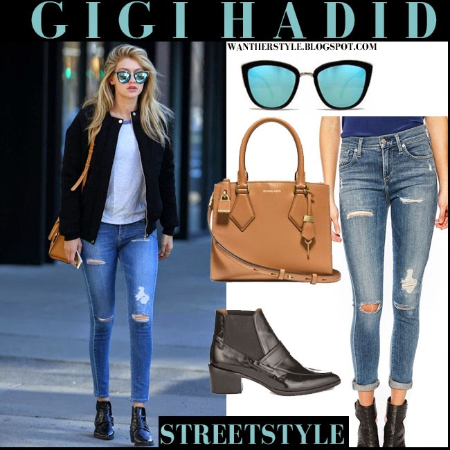 89e58018ea3 WHAT SHE WORE  Gigi Hadid in skinny ripped jeans ankle boots and ...