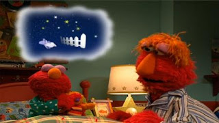 Elmo and Baby David close their eyes and count the sheeps. Sesame Street Bedtime with Elmo