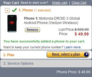 Droid 3 $49.99