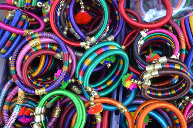 Colorful ethnic-style bangles.