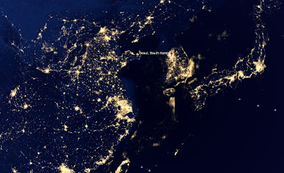 Asia nightview from space