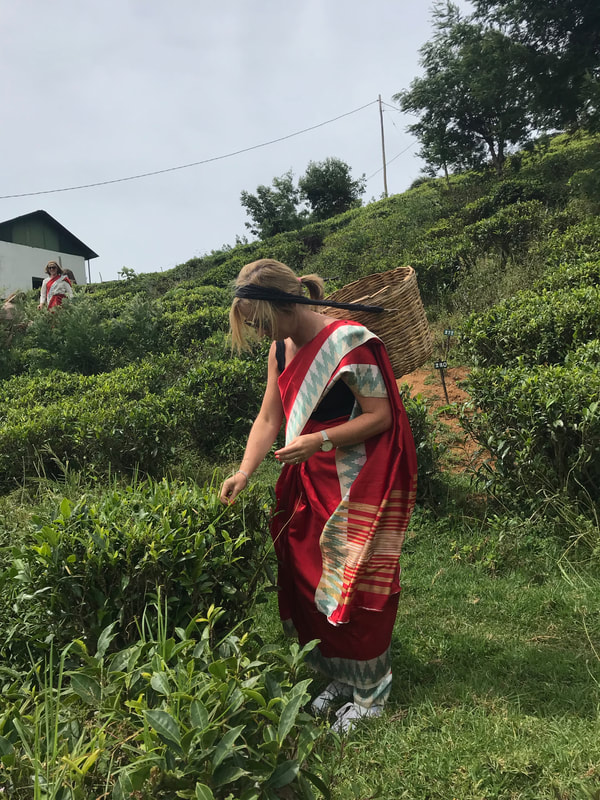 Michelle from Fifty and Fab blog at a tea plantation in Sri Lanka