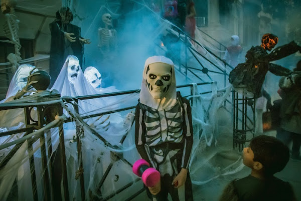 Image: A scary looking kid dresses up at a skeleton for Halloween in New York. Photo by Clay LeConey on Unsplash