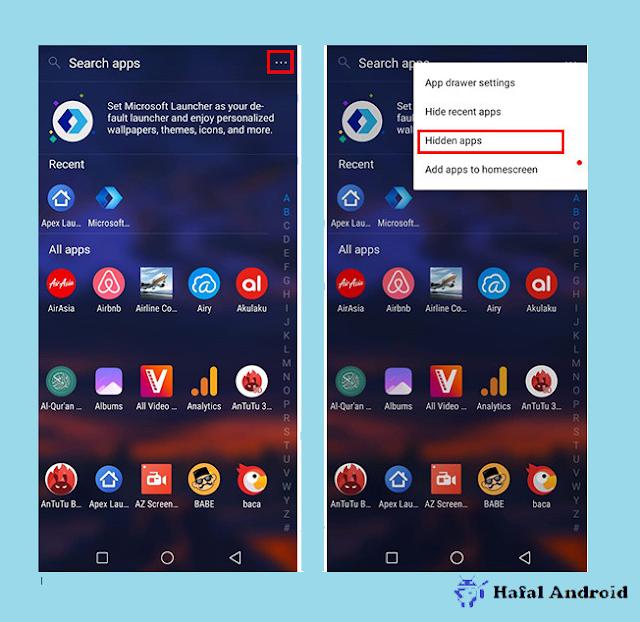 Tekan Hidden Apps Micorosft Launcher