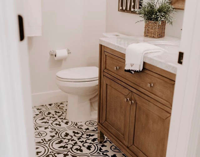 Bathroom of Dreams! Black and White Tiles and Wood