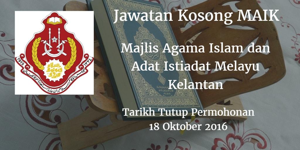 Jawatan Kosong MAIK 18 Oktober 2016