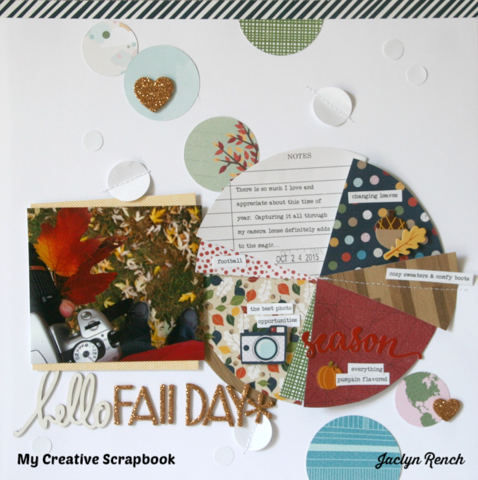My creative scrapbook how to create a pie chart embellishment by the beautiful patterns from the september kit were just begging to be made into a pie design heres a look at the fall themed pie chart i created for my nvjuhfo Image collections