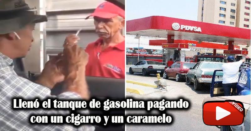 Llenó el tanque de gasolina pagando con un cigarro y un caramelo