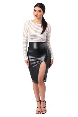 wanita Leather Skirt