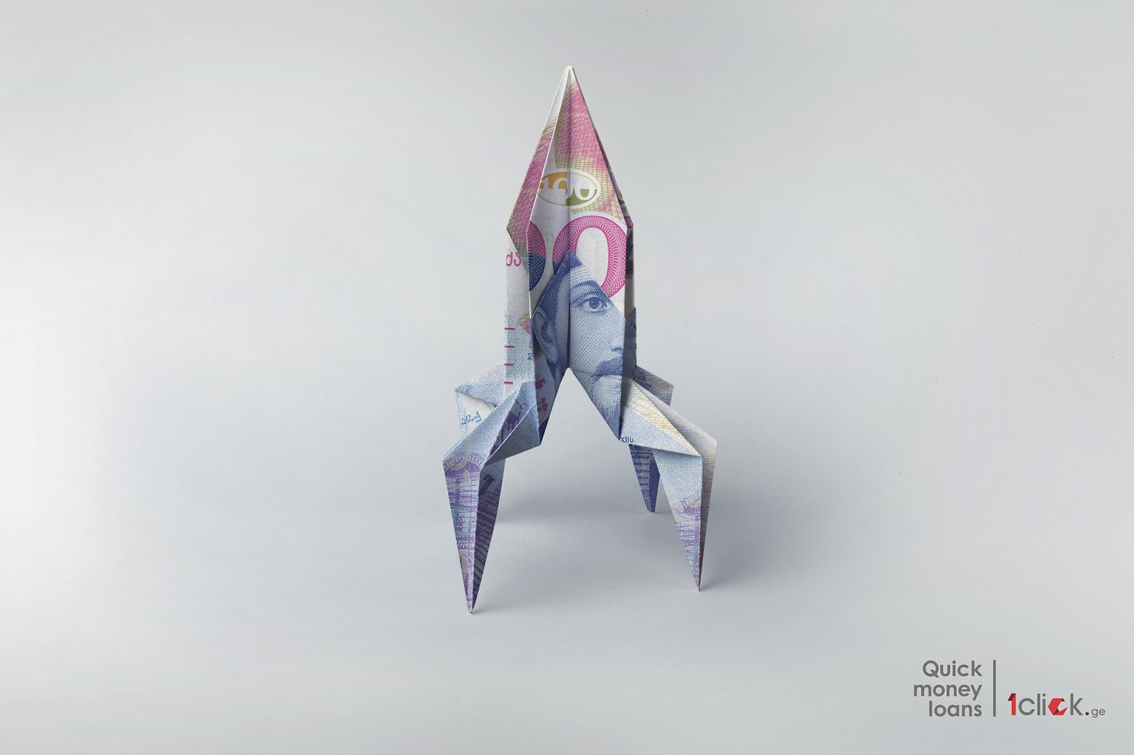 1Clickge Rocket Origami Print Advertisement