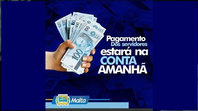 Prefeitura de Malta -PB antecipa pagamento dos servidores referente ao mês de maio