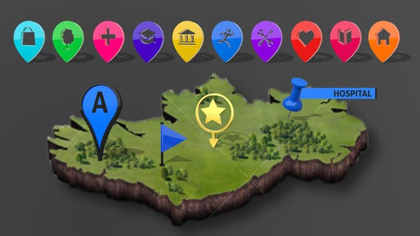 3D Map Markers[Videohive][After Effects][21594069]
