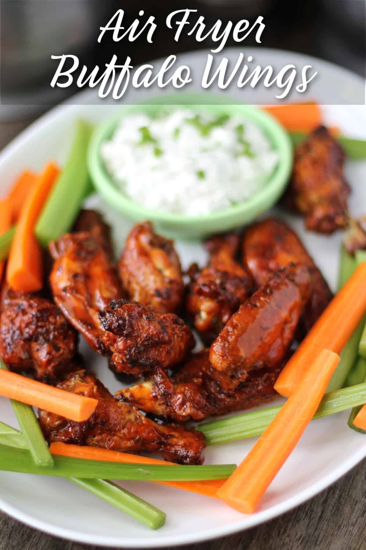 Air Fryer Buffalo Chicken Wings with blue cheese.