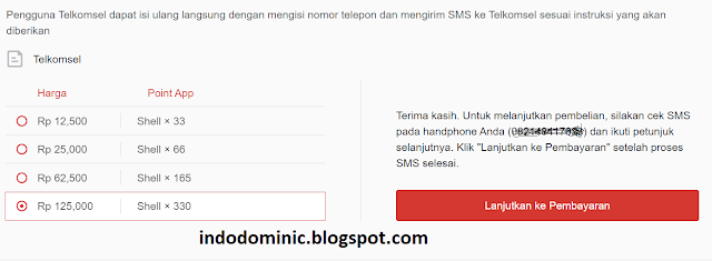 Payment completed for Garena Shell purchase