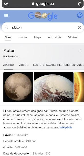 Fiche info de la planète Pluton