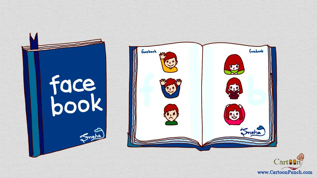 Face Book: A collection of cartoon face emotions in a blue colored book titled Facebook (Cartoons by Sneha)