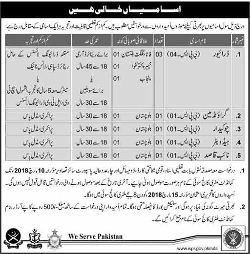 Jobs In Pakistan Army 2018 for Drivers / Ground man and others