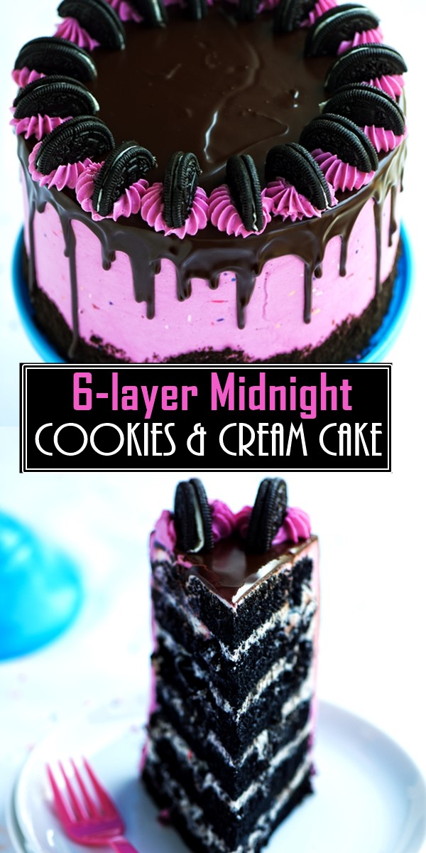 6-layer Midnight Cookies & Cream Cake #cakerecipes
