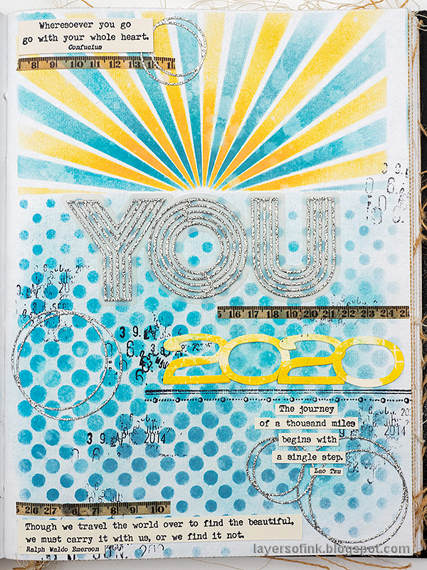 Layers of ink - New Year Art Journal Page by Anna-Karin Evaldsson.