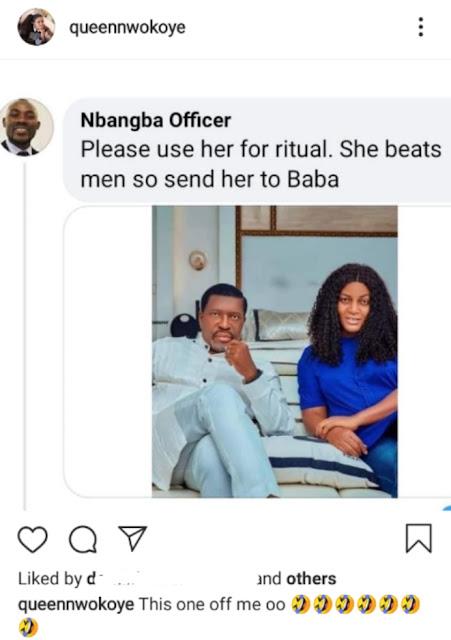 Actress Queen Nwokoye reacts as a man begs Actor Kanayo O. Kanayo to use her for ritual