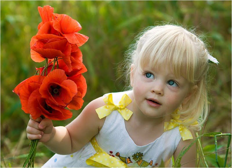 baby girl innocent red flower