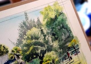 水彩画「朝の光」製作途中