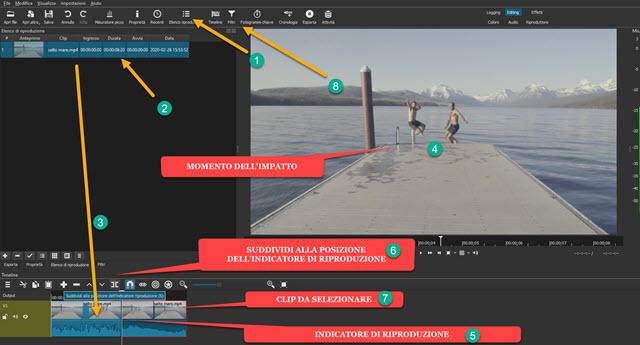 selezionare momento di impatto nel video