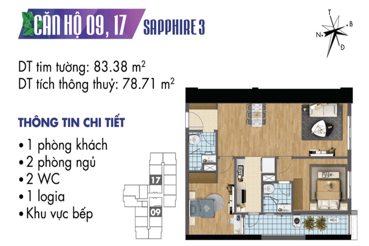 Mặt bằng căn hộ 09 và 17 tòa Sapphire 3
