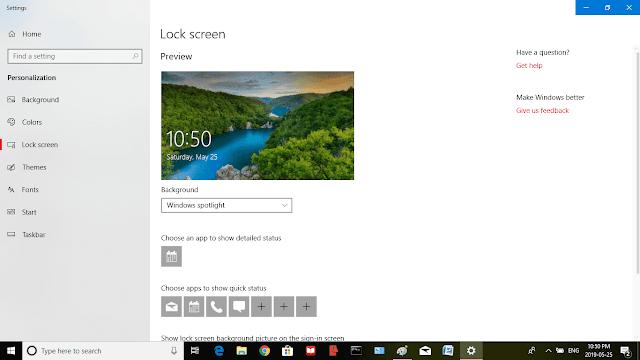 Windows 10 Desktop Lock Screen