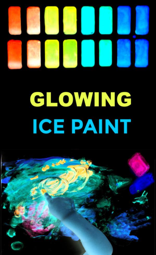 Got bored kids?  Make icy-cold chalk that glows-in-the-dark! #icechalk #chalkpaint #frozenchalk #glowinthedarkpaint #growingajeweledrose #activitiesforkids