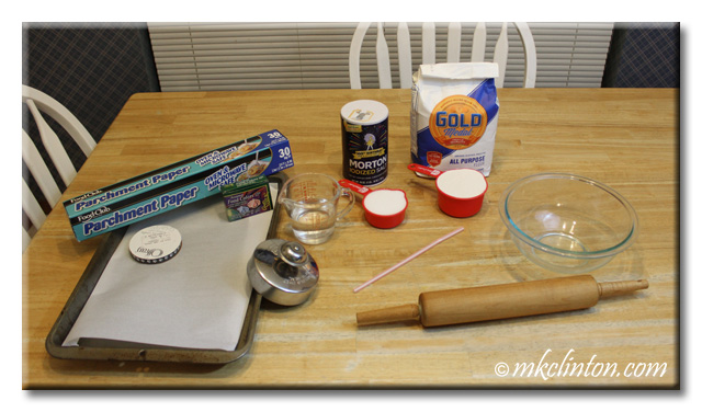 Ingredients/supplies for Salt Dough Paw Prints