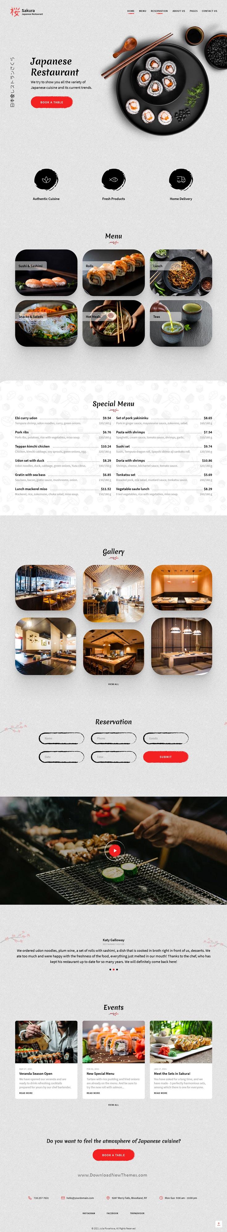 Sakura - Restaurant Adobe Muse Template