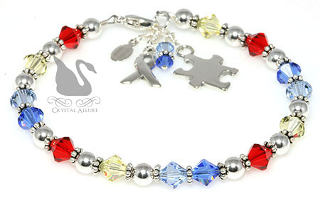Crystal Puzzle Piece Autism Awareness Bracelet (B081)