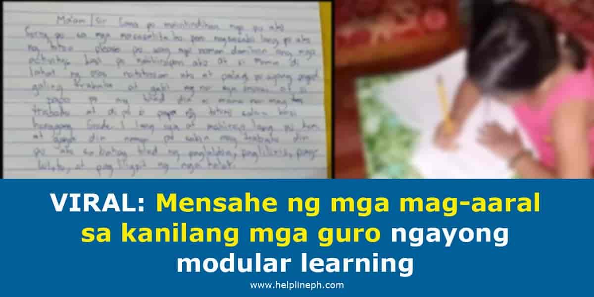 Mensahe ng mga mag-aaral sa kanilang mga guro ngayong modular learning