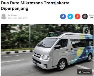 Rute Mikrotrans Transjakarta Diperpanjang