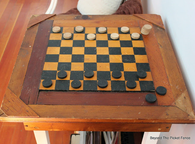 checkers, antique, side table, game table, http://bec4-beyondthepicketfence.blogspot.com/2016/02/checkers-table.html